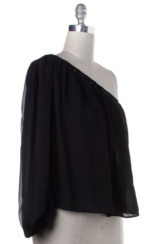 GUCCI Black Embellished Sheer Silk One Shoulder Blouse