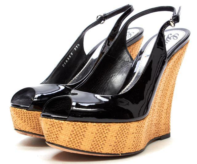 GUCCI Black Patent Leather Peep Toe Casual Slingback Platform Wedges