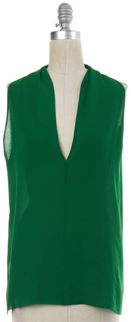 GUCCI Green Sheer Sleeveless V Neck Low Back Cutout Blouse Top