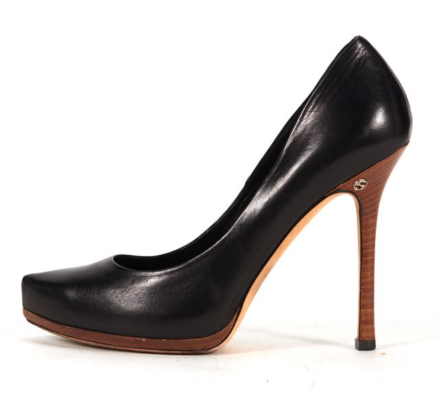 GUCCI Black Leather Casual Pointed Toe Pump Wooden Stilettos Heels