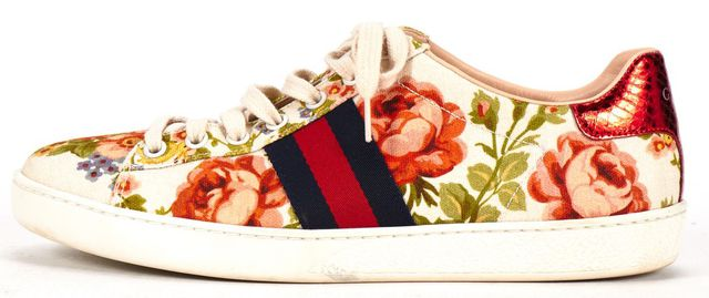 GUCCI FOR NET-A-PORTER Ace White Floral Canvas Sneakers