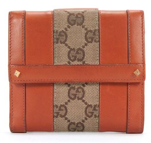 GUCCI Brown Tan Leather GG Monogram Canvas Bifold Wallet