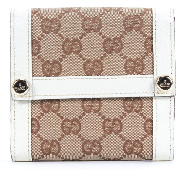 GUCCI White Brown GG Monogram Canvas Leather Trim Bifold Wallet