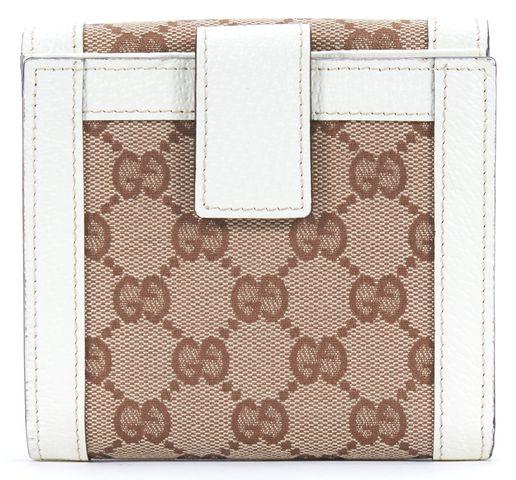 GUCCI White Brown GG Monogram Canvas Leather Trim Bifold Wallet
