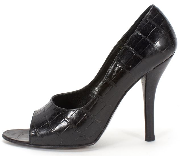 GUCCI Black Crocodile Peep Toe Pumps