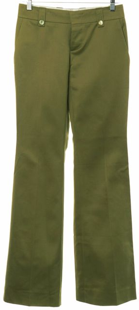 GUCCI Olive Green Cotton Sateen Flared Leg Chinos Pants