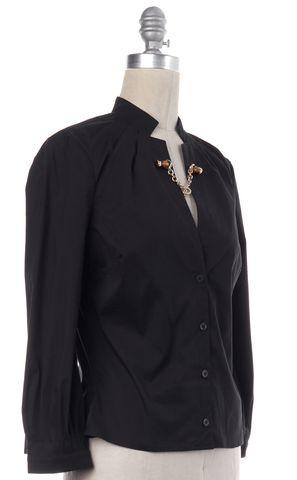 GUCCI Black Cotton Bamboo Gold Chain Button Down Shirt