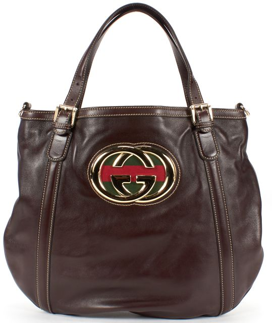 GUCCI Brown Leather GG Logo Tote Shoulder Bag