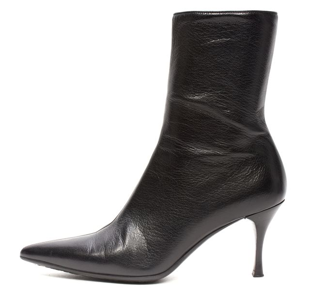 GUCCI Black Leather Pointed Boots