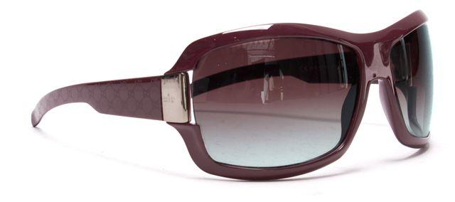 GUCCI Burgundy Acetate Frame Gradient Lens Rectangular Wrap Sunglasses