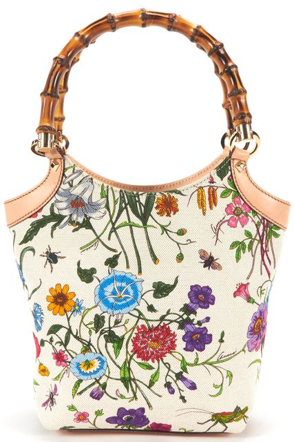 GUCCI Beige Multi Floral Canvas Bamboo Top Handle Bag