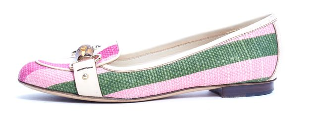 GUCCI Pink Green White Striped Canvas Bamboo Loafers