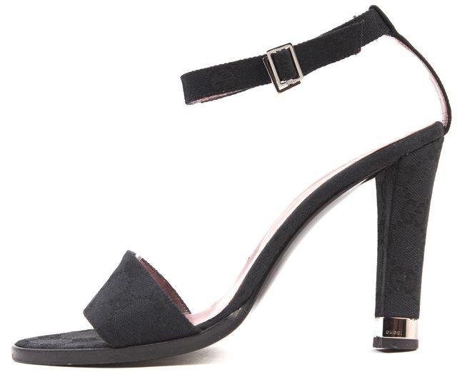GUCCI Black GG Canvas Ankle Strap Sandals