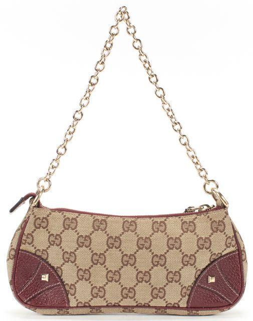 GUCCI Brown GG Canvas Studded Pochette Bag