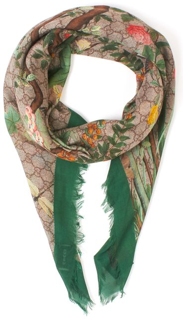 GUCCI Beige Green Multi GG Supreme Tian Monogram Floral Printed Shawl Scarf