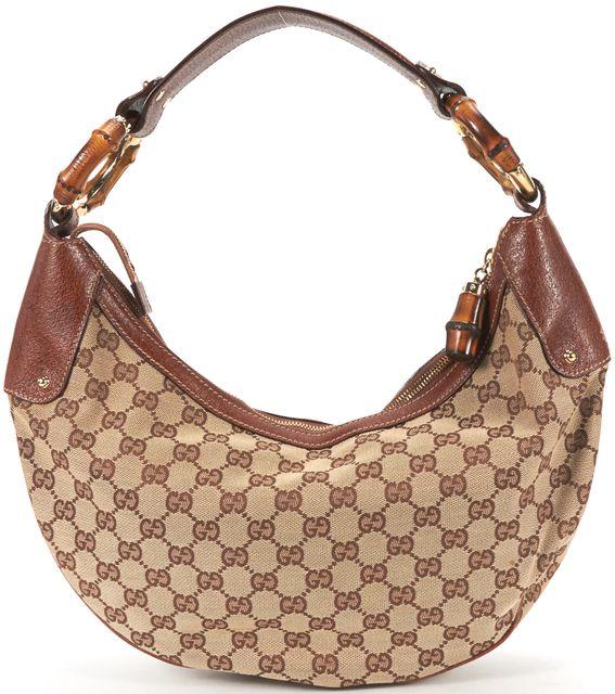 GUCCI Beige Brown Classic GG Monogram Bamboo Zip Hobo Shoulder Bag