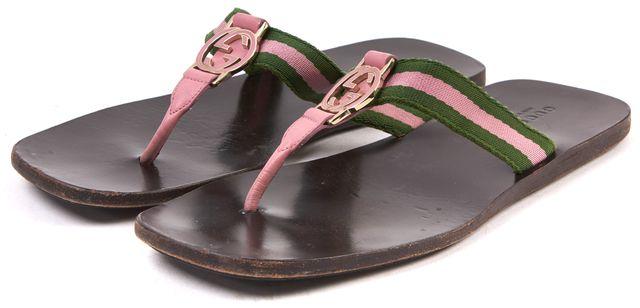 GUCCI Pink Green T-Strap Flip Flops