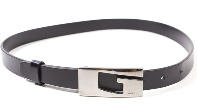 GUCCI Black Leather Skinny Belt