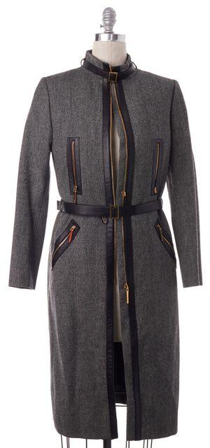 GUCCI Black Leather Trim Wool Herringbone Houndstooth Belted Coat