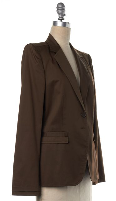 GUCCI Brown Cotton Two Button Blazer