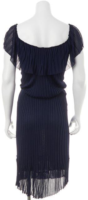 GUCCI Purple Ruffled Belted Pleated Sheath Dress
