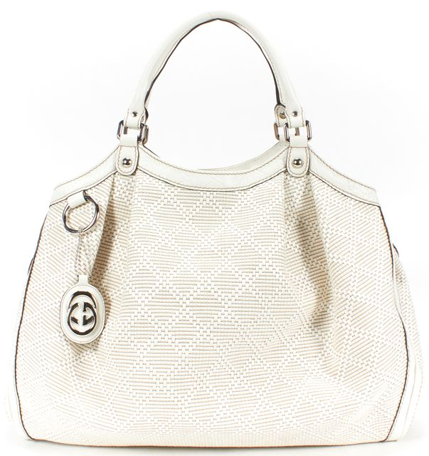 GUCCI White Woven Raffia Leather Diamante Medium Sukey Tote Bag