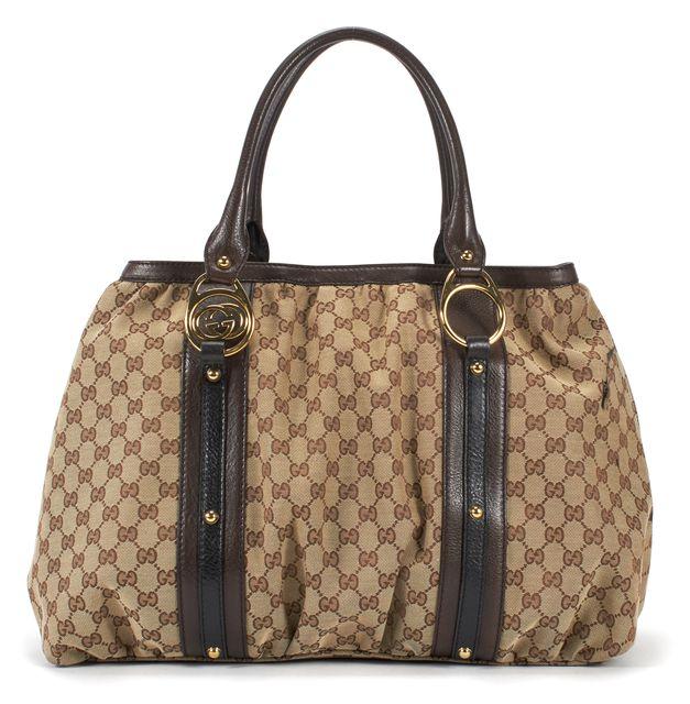 GUCCI Brown Signature GG Monogram Leather Interlocking Large Shoulder Tote Bag