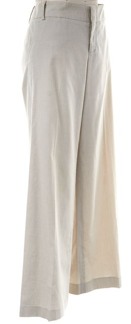 GUCCI Ivory Olive Green Pinstripe Wide Leg Trousers Pants