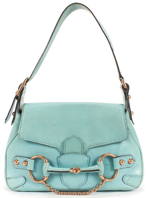 GUCCI Turquoise Blue Textured Leather Horsebit Shoulder Bag