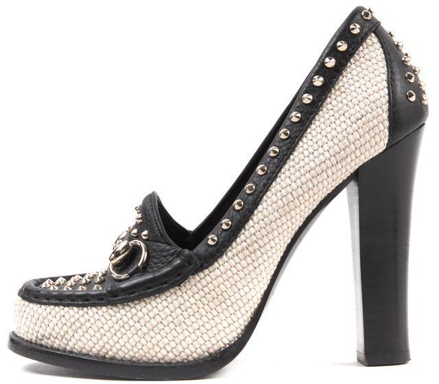 GUCCI Black Beige Studded Leather Woven Horsebit Stacked Heel Pumps