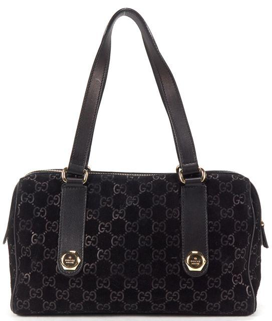 GUCCI Black Guccissima Monogram Suede Shoulder Bag