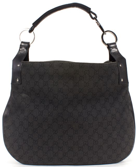 GUCCI Black Monogram Canvas Large Hobo Shoulder Bag