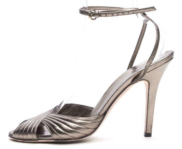 GUCCI Metallic Silver Pewter Criss Cross Ankle Strap Sandal Heels