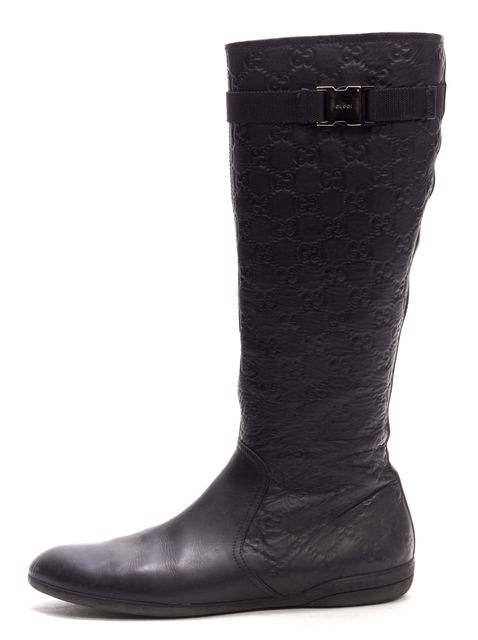 GUCCI Black GG Monogram Embossed Leather Knee High Boots
