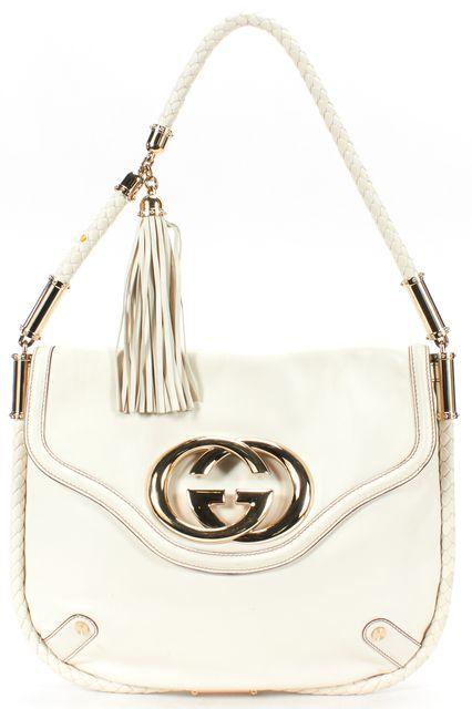 GUCCI Ivory Leather 'Brit' Braided Fringe Tassel Shoulder Bag