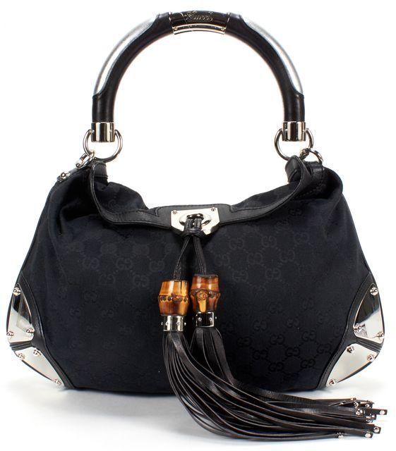 GUCCI Black Indy Tassel Fringe Hobo Shoulder Bag GG Canvas
