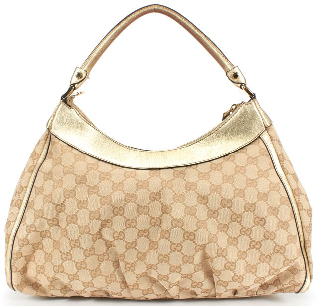 GUCCI Gold GG Canvas D Ring Large Hobo Bag