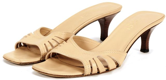 GUCCI Nude Beige Leather Slip On Cutout Kitten Heel Sandals