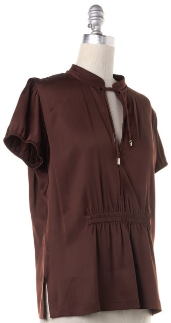 GUCCI Brown Silk Blouse Top