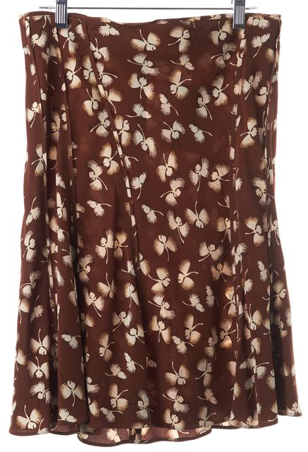 GUCCI Brown White Floral Print Silk Ruffle Knee Length Skirt