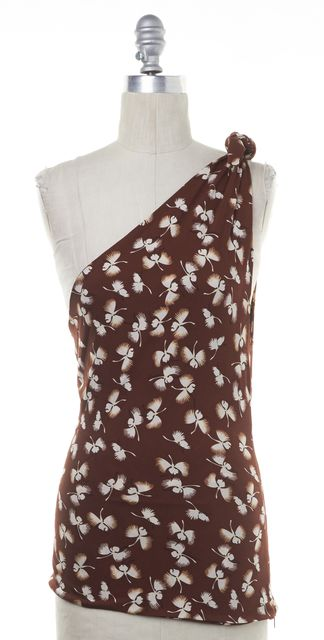 GUCCI Brown Floral Silk Blouse Top