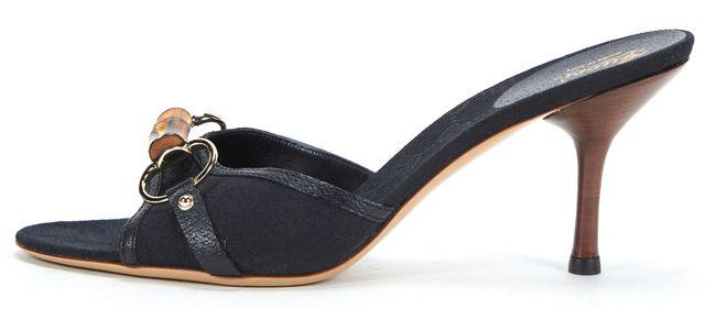 GUCCI Black GG Monogram Canvas Bamboo Horsebit Slide On Mule Heels