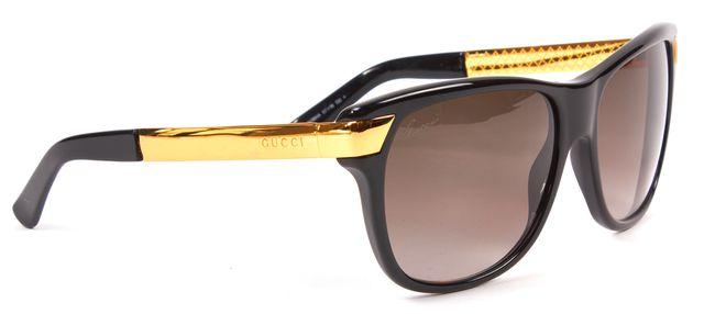 GUCCI Black Gold Acetate Square Sunglasses
