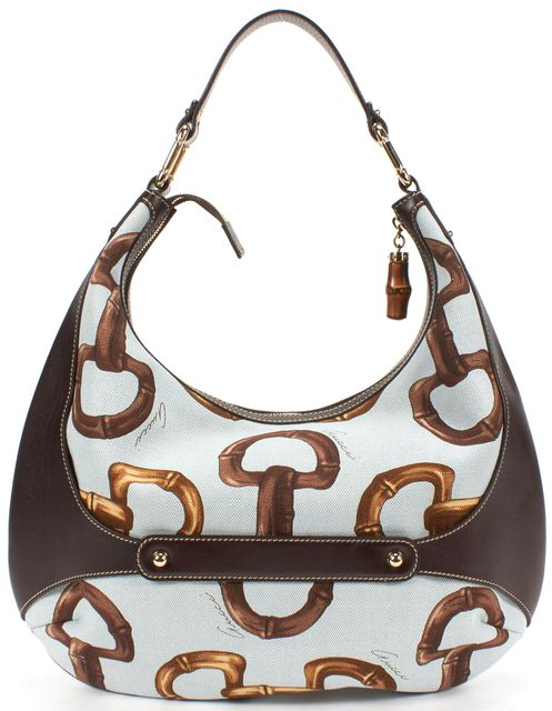 GUCCI Brown Blue Canvas Amalfi Horsebit Print Hobo Shoulder Bag