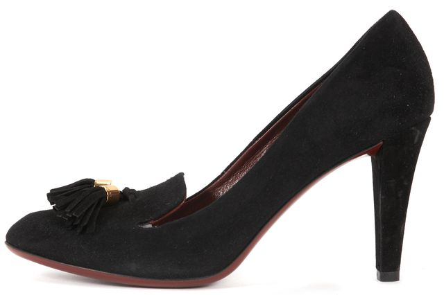 GUCCI Black Suede Tassel Embellished Pumps