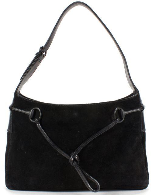 GUCCI Black Suede Leather Matte Horsebit Shoulder Bag