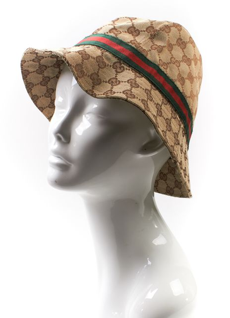 GUCCI Brown Beige GG Monogram Bucket Hat