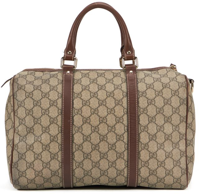 GUCCI Beige GG Classic Coated Canvas Boston Top Handle Bag