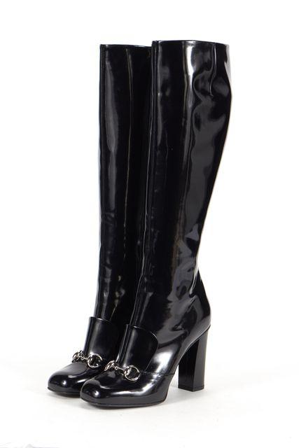 GUCCI Black Leather Horsebit Loafer Embellishment At Vamp Boots
