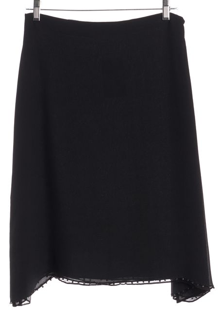 GUCCI Black Silk Beaded Trim A-Line Skirt